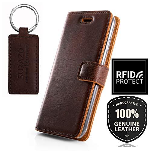 SURAZO RFID - Funda de Piel para Sony Xperia XZ2 (5,70 Pulgadas), diseño Vintage, Color marrón Oscuro