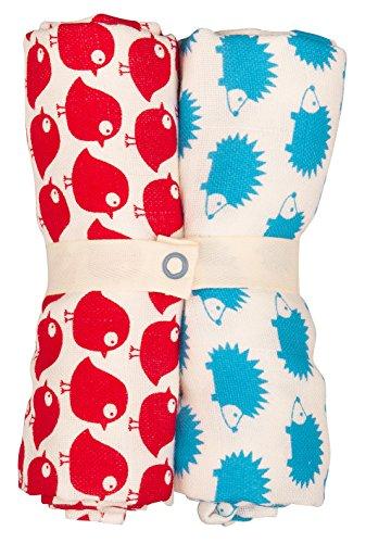 Loud + Proud Spucktuch im Doppelpack Châle, Rouge (Tmato/Sky to/SK), Taille Unique (Lot de 2) Mixte bébé