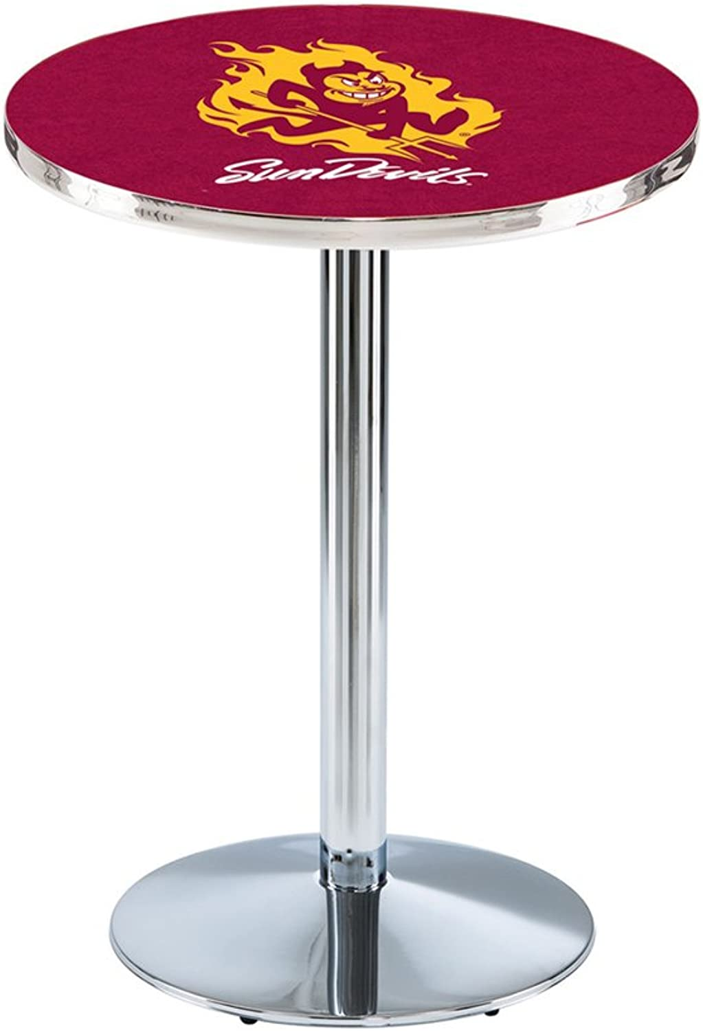 Holland Bar Stool L21436  Stainless Steel Arizona State Pub Table with Sparky Logo