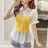 chemise Mode Shirt d'été Nouveau Style Sauvage Tricoté Brochage Faux Shirt en Deux Parties de Taille Amincissant à Manches Courtes Femmes Shirt (Couleur : B, Taille : L)