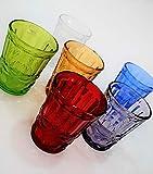 Pagano Home 6 vasos para agua / wisky colores surtidos de cristal capacidad 27 cl modelo tropea (rojo, transparente, lila, verde, naranja celeste)