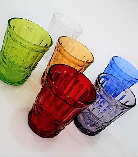 Pagano Home 6 vasos para agua / wisky colores surtidos de cristal...