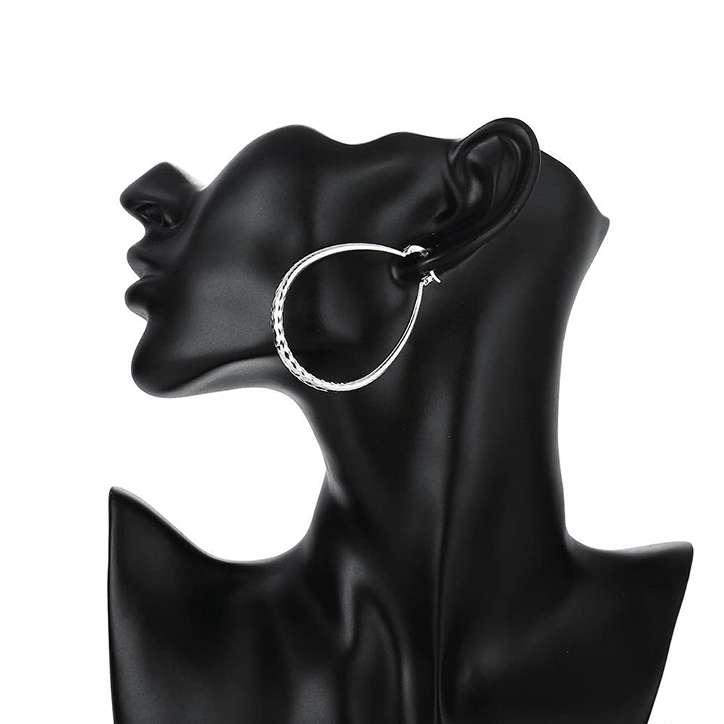 NAOMI 925 Sterling Silver Textured Ear Studs Large Round Hoop Earrings bryynvqfuwv889