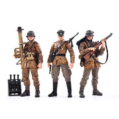 HYZM 1/18 Soldat Actionfigur, 3Pcs Action Figuren Modell Beweglich Figuren von World War II Wehrmacht Soldat Modell Spielzeug - Herbsttarnung