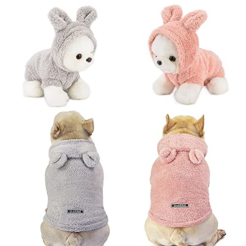 Sebaoyu 2 Piece Dog Fleece Sweater Winter Warm Pet Puppy Vest Clothes Outfit Small Dog Coat Hoodie Cat Clothing Soft Chihuahua French Bulldog Jacket (Pink/Grey, X-Large)