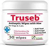 Truseb | #1 Chlorhexidine Wipes with Ketoconazole and Aloe for Dogs, Cats and Horses Antifungal & Antiseptic Medicated 50 Count Dermatological Pads Hot Spots Itchy Paws Skin Rashes Dermatitis Ringworm