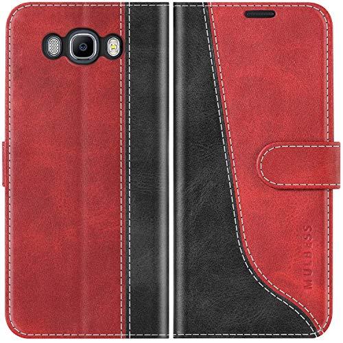 Mulbess Custodia per Samsung J7 2016, Cover Samsung J7 2016 Libro, Custodia Samsung Galaxy J7 2016 Pelle, Flip Cover per Samsung Galaxy J7 Duos 2016 Portafoglio, Vino Rosso