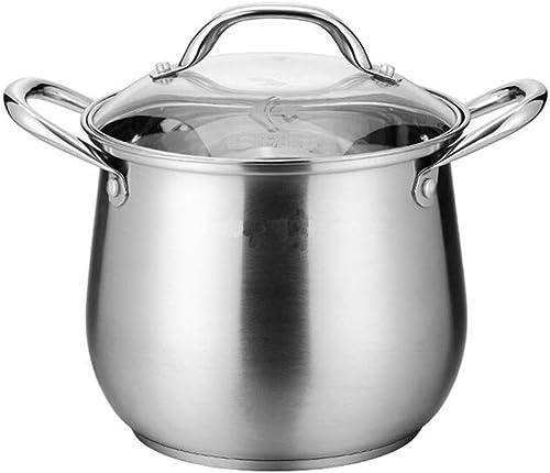 Huaishu Acier Inoxydable Casserole à Induction Grande cuisinière à poêle épaississement Grande capacité gaz Domestique,22cm