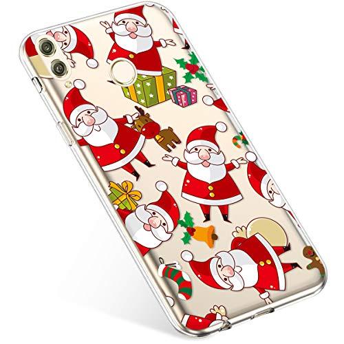 Uposao Coque pour Huawei Honor 8C Etui Silicone TPU Housse Souple Transparente Coque Noël Cerf Flocon de Neige père Noël Sapin de Noël Elk Christmas Motif Ultra Mince Premium Hybrid Slim Case Coque.
