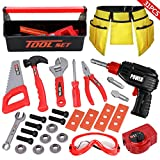 LOYO Kids Tool Set - Pretend Play Construction Toy with Tool Box Kids Toolbelt Electronic Toy Drill Construction Accessories Gift for Toddlers Boys Ages 2, 3 , 4, 5, 6, 7 Years Old