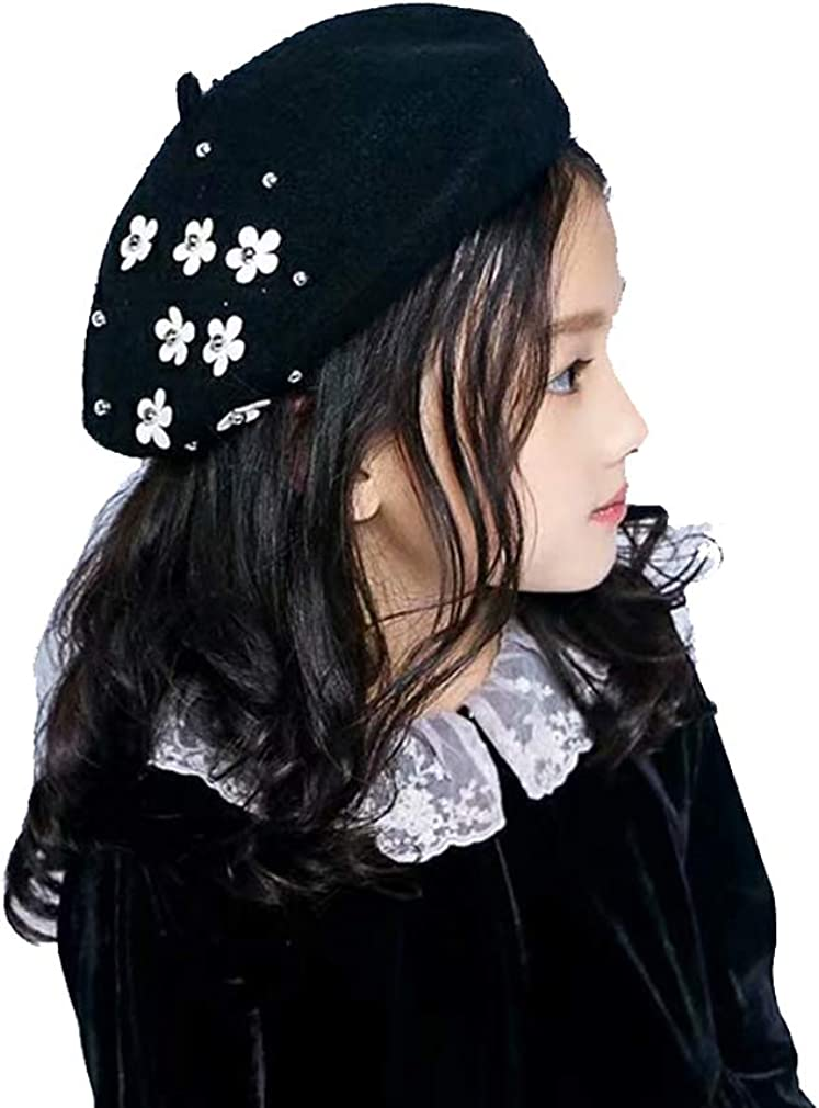 Orityle Girls Winter Wool Beret Classic French Style Beanie Princess Dome Hats Caps with Flower