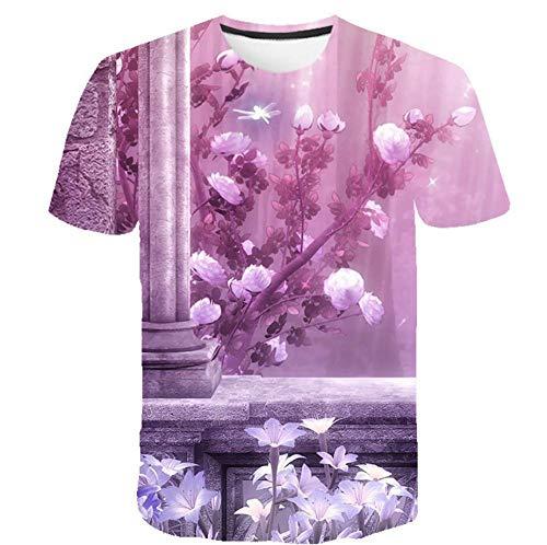 3D-Druck T-Shirt Lila Rosa Blumensäule Lässige Urlaub Kurzarm Unisex Mode Sommer T-Shirt Rundhalsausschnitt,2XL