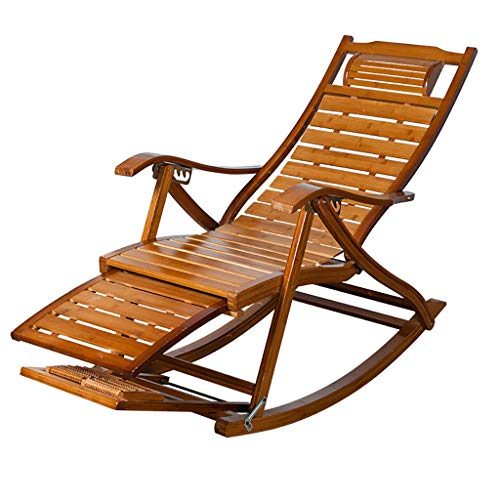 LPGY Bamboo Wood Rocking Chair, Relax Recliner, Indoor Outdoor Lounger with Adjustable Backrest, Garden Yard Couch Patio Porch Furniture