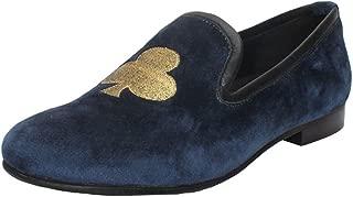Bareskin Men Blue Velvet Slip-on Shoes with Golden Poker Embroidery