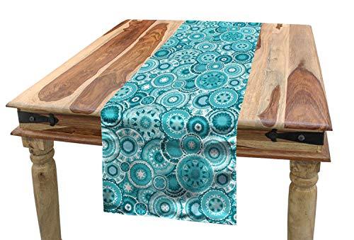ABAKUHAUS Agua Camino de Mesa, Mandala Étnica Ronda, Rectangular para el Comedor Material Durable, 40 x 180 cm, Teal Color Blanco Turquesa