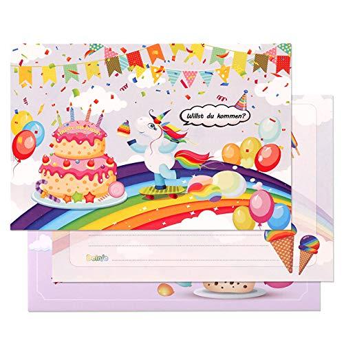 Kesote 24x Einladungskarten Kindergeburtstag Einhorn Karten Kinder Unicorn mit Umschläge für Geburtstag Party Mädchen Junge