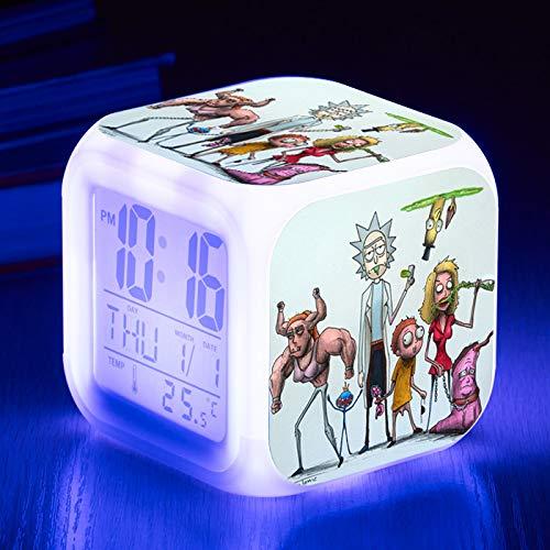 HHIAK666 Reloj Despertador Rick Y Morty, Color 7 Color Despertador Quad Reloj, Led Reloj De Alarma De Regalo Creativo 8Cm 25
