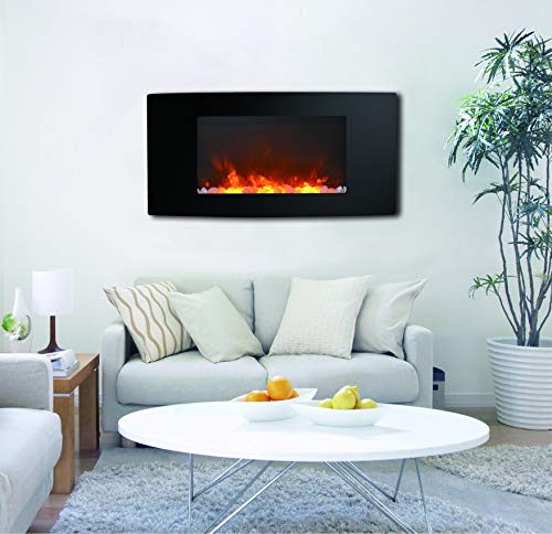 Wall-Mount Electronic Fireplace with Curved Panel and Crystal Rocks