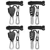 iPower GLROPEX2 2-Pair 1/8 Inch 8-Feet Long Heavy Duty Adjustable Rope Clip Hanger (150lbs Weight Capacity) Reinforced Metal, Black
