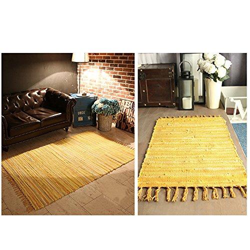RISTHY Alfombra de Algodón Yute Chindi Alfombras de Trapo Tejidas a Mano para Sala de Estar Dormitorio Cocina Entrada 50x80cm
