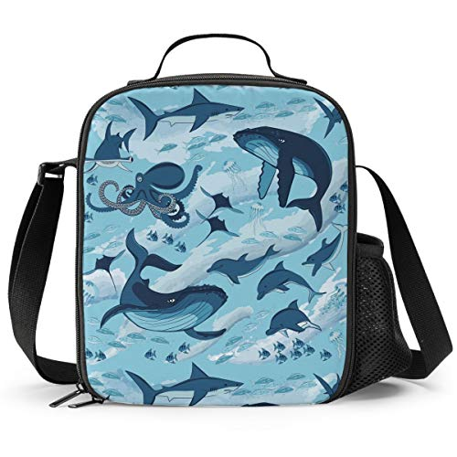 Delerain Dolphins and Octopus Lunch Box, Insulated Lunch Bag with Handle and Shoulder Strap Cooler Picnic Pouch Food Bag for Kids Girls Boys Preschool Office Picnic