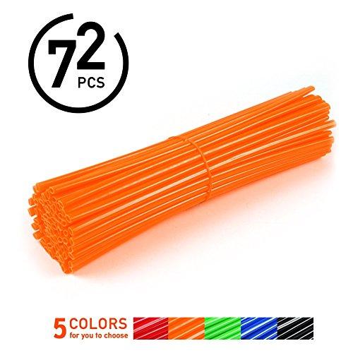 72Pcs Spoke Skins Cubierta del Radio de Rueda de Motocicleta para Motocross Bicis de la Suciedad - Tubo de Cubierta para Rayo Llantas 5 Colores ( Color : Naranja )