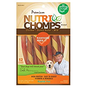 NutriChomps Dog Chews, 5-inch Twists, Easy to Digest, Rawhide-Free Dog Treats, 12 Count, Real Chicken, Peanut Butter and Milk Flavors