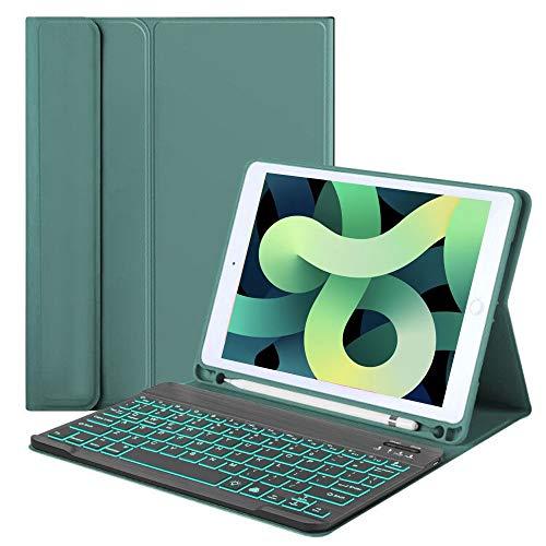Comb Funda con teclado italiano para nuevo iPad 10.2 2020/2019IPad (7ª y 8ª generación), iPad Pro10.5/iPad Air 3 10.5, teclado italiano desmontable retroiluminado de 7 colores (verde)