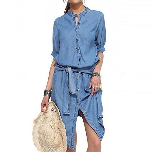 Dames jeansjurk korte mouwen elegante vintage denim sling lange unregel rok modieuze knielange zomerjurk ronde hals casual slank avondjurk blousejurk blauw