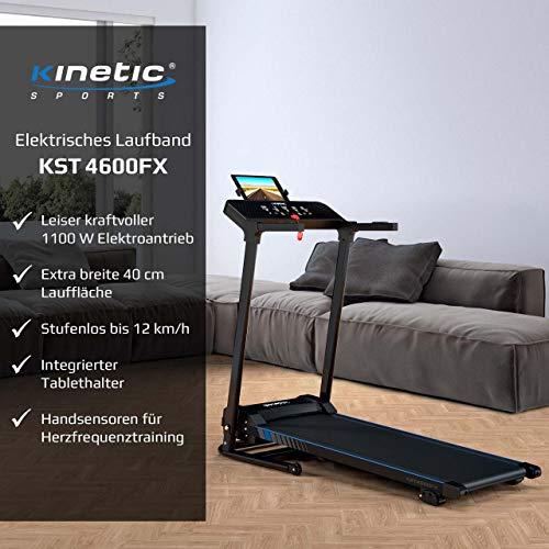 Kinetic Sports KST4600FX Laufband klappbar elektrisch 1100 Watt leiser Elektromotor 12 Programme, bis 120kg, GEH- und Lauftraining, Tablethalterung, bis 12 km/h, Steigung verstellbar - 2