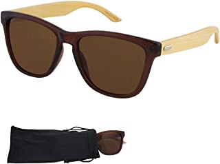 Frogskin Sunglasses - Plastic Frame with Bamboo Arms, Dark Lenses - UV Ray Protected Shades For Men & Women - By Optix 55