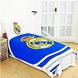 Juego de funda de edredón reversible oficial del Real Madrid con funda de almohada (52% poliéster y 48% algodón)