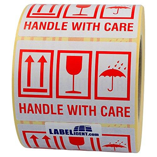 Labelident Warnetiketten auf Rolle 105 x 74 mm - handle with care - 1000 Versandaufkleber auf 1 Rolle(n), 3 Zoll Kern, Papier selbstklebend, weiß