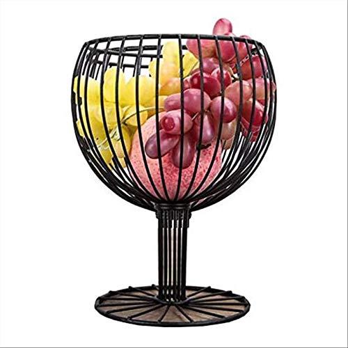 DTNSSTB Frutero con Forma De Copa De Vino, Cesta De Frutas De Metal, para Frutas/Verduras/Dulces/Pan (Negro)