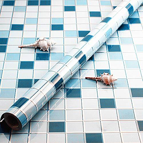 Avisk Mosaik-Klebefolie, 61 x 297 cm, dicke Klebefolie, abnehmbar, abziehen und aufkleben, für Badezimmer, Küche, Arbeitsfläche, Vinylfolie