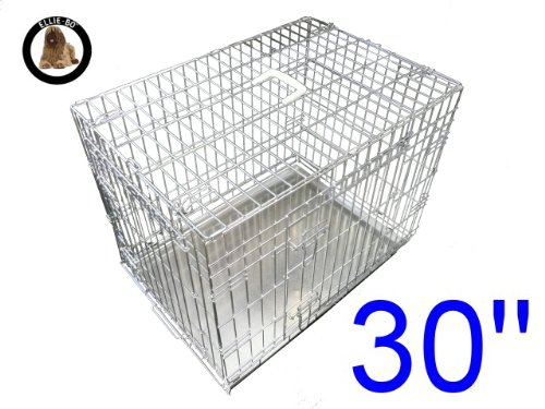 Ellie-Bo Dog Puppy Cage Folding 2 Door Crate with Non-Chew Metal Tray, Silver, Medium, 30 Inch
