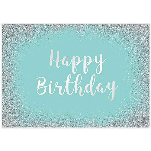 Allenjoy 7x5ft Turquoise and Silver Happy Birthday Party Backdrop for Women Photography Girls Sweet 16th Mint Blue Banner 21st Bday Cake Table Decoration Props Photo Booth Supplies