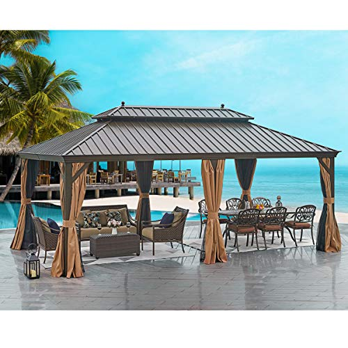 MELLCOM Hardtop Gazebo 12' X 20' Galvanized Steel Outdoor Gazebo Canopy Double Vented Roof Pergolas Aluminum Frame with Netting and Curtains for Garden,Patio,Lawns,Parties