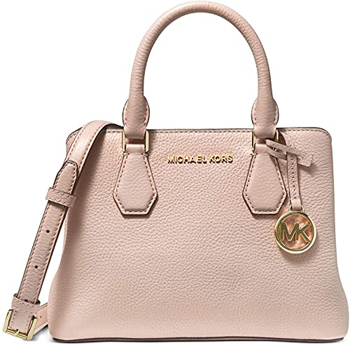 Soft Pink pebbled lather. Magnetic closure ; Three compartment satchel. Exterior : Gold-tone exterior hardware & 1 zip pocket. Interior : 1 interior zip divider compartment, 1 zip pocket & 2 front snap pockets. Signature polyester lining ; Optionanal...