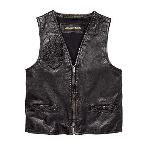 Harley-Davidson Men's Iron Distressed Slim Fit LeatherVest, Black