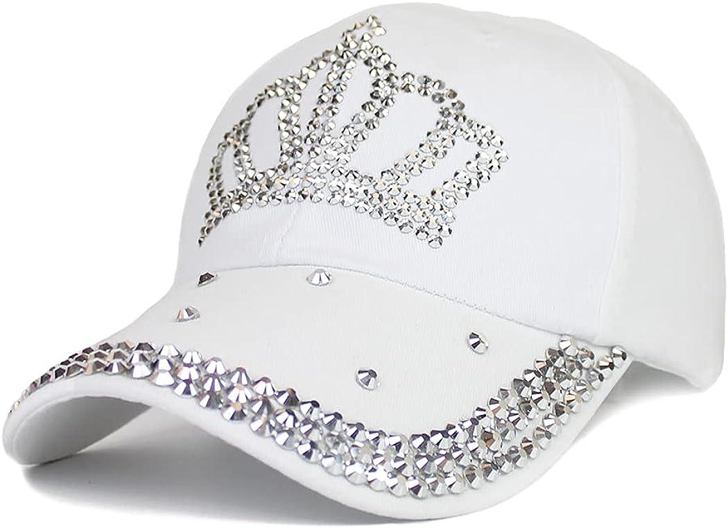 Gudessly Adjustable Women's Bling Rhinestone Bejeweled Cotton Denim Baseball Cap Hip Hop Hat