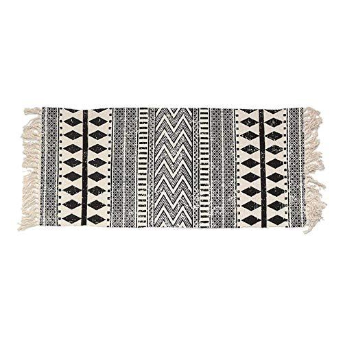 THEE Strick Matte Vorleger aus Baumwolle Strick Teppich rutschfest Fußläufer Fleckerlteppich für Wohnzimmer Schlafzimmer Diele