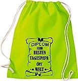 Shirtstown - Bolsa de deporte, diseño con texto en alemán 'Diplom zum besten Tagespapa der Welt', color lima, tamaño 37 cm x 46 cm