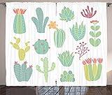 ABAKUHAUS Kaktus Rustikaler Gardine, Hand gezeichnete Art-Kakteen, Schlafzimmer Kräuselband Vorhang mit Schlaufen und Haken, 280 x 245 cm, Mehrfarbig