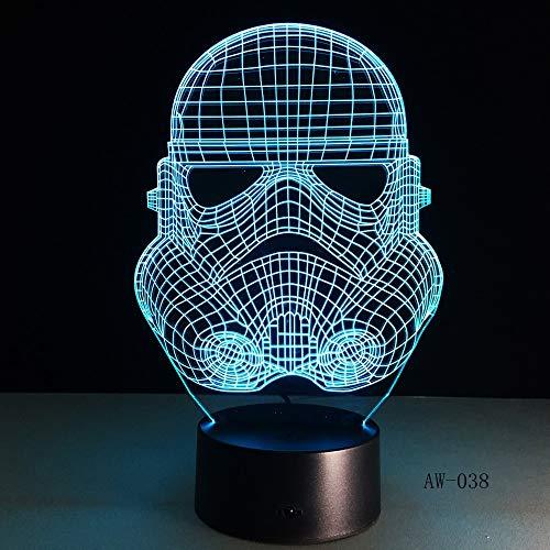 Nur 1 Stück 3D Night LightSpace Krieg Klonkraft Darth White Vader Knight Warrior Figur Toy Illusion LED USB Lampe Gradient Geschenk