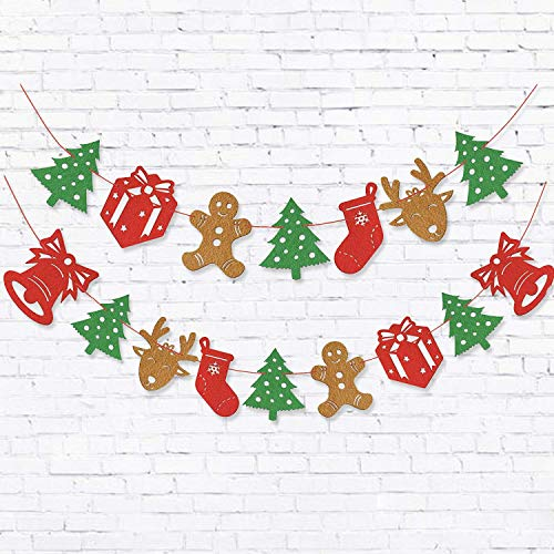 GuassLee Christmas Felt Banners Flags Room Decorations - 2pcs Hanging Garlands Including Gift Snowman Elk Sock for New Year Christmas Festival Birthday Wedding Winter Party Decorations