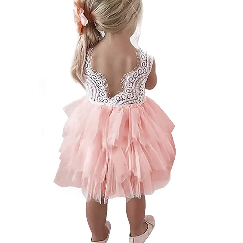 Lace Backless A-Line Tiered Tutu Tulle Baby Flower Girls Princess Party Dress