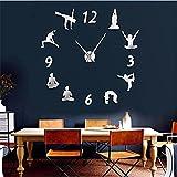 LTMJWTX Yoga Relojes de Pared Grandes Efecto de Espejo Sala de Estar Reloj de Pared DIY Meditación...