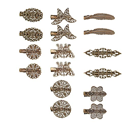 Ondder 16 Pack Vintage Hair Clips Barrettes Bronze Leaf Flower Butterfly Clip Hair Accessories for Women