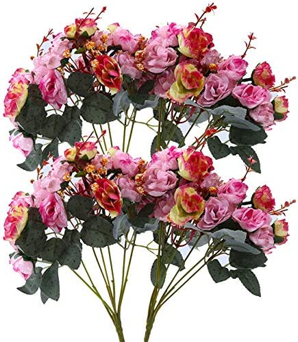 Qiddo 7 Branch 21 Heads Artificial Silk Fake Flowers Leaf Rose Wedding Floral Decor Bouquet product image